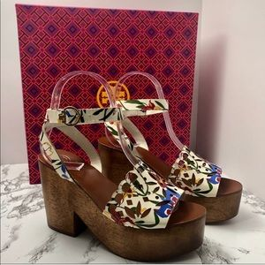 Tory Burch Wooden Floral Sandals